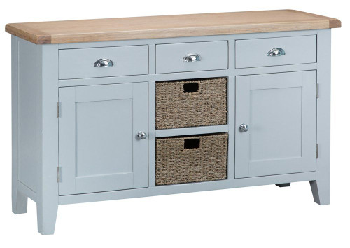 ARBETTA (TT-LS/W) LARGE 1400(W) BUFFET / SIDEBOARD WITH 2 DOORS -  GREY  / OAK TOP
