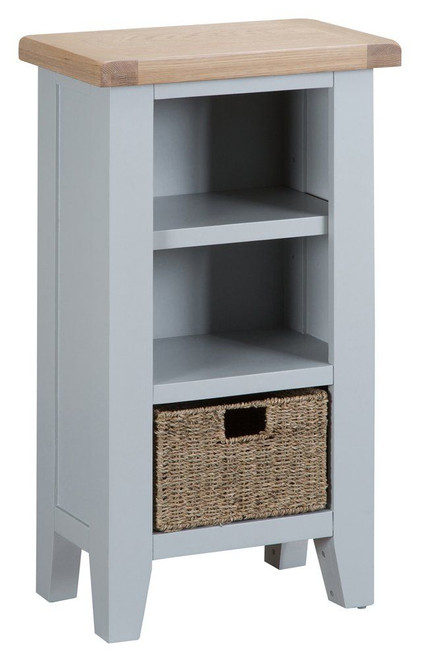 ARBETTA (TT-SNB) SMALL NARROW  BOOKCASE WITH 1 BASKET - 900(H) X 500(W)-  GREY  / OAK TOP  (TWO TONE)