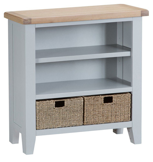 ARBETTA (TT-SWB-G) SMALL WIDE BOOKCASE- 900(H) X 900(W) - GREY / OAK TOP