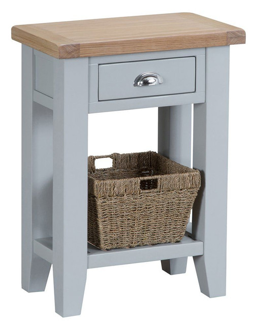 ARBETTA (TT-TEL-G) TELEPHONE TABLE WITH DRAWER - GREY / OAK TOP
