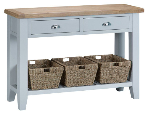 ARBETTA (TT-LCON-G) LARGE CONSOLE TABLE WITH TWO DRAWER & 3 BASKETS -  850(H) X 1200(W) X 350(D) - GREY / OAK TOP