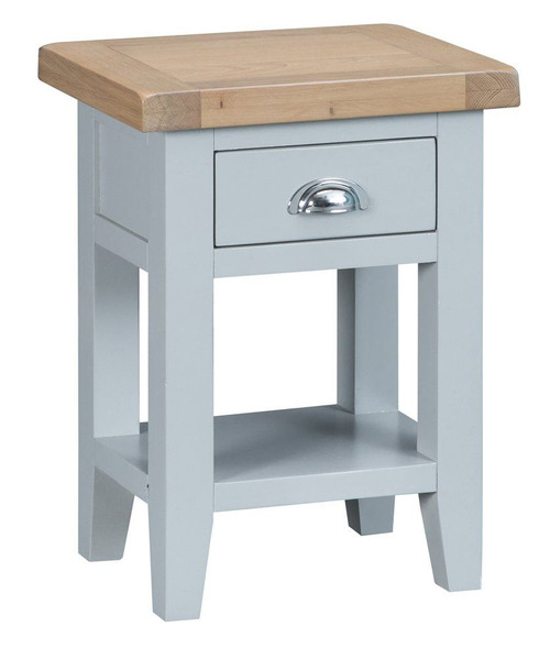 ARBETTA (TT-SIT-G) SIDE TABLE WITH ONE DRAWER - GREY / WHITE