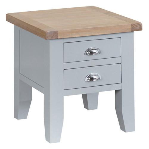 ARBETTA (TT-LT-G) BEDSIDE TABLE WITH 2 DRAWERS  - GREY / OAK
