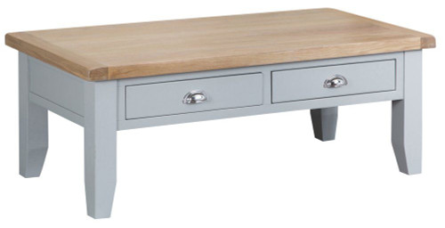 ARBETTA (TT-LCT-W) LARGE  COFFEE TABLE WITH 2 DRAWERS  - 1200(W) X 600(D) - GREY / OAK