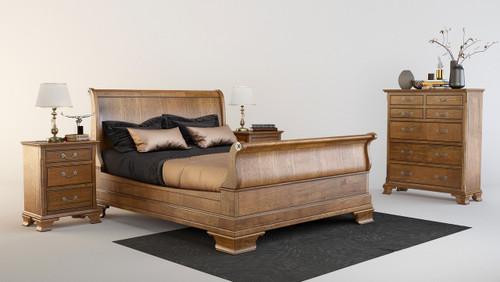 BALLANTYNE  QUEEN 4  PIECE (TALLBOY)  OAK BEDROOM SUITE -   BROWN