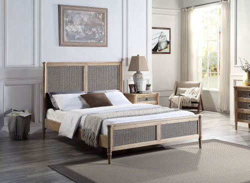 QUEEN LOUIS XVI REGENCY FRENCH STYLE BED - RECLAIMED WOOD WITH RATTAN