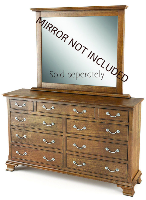 BALLANTYNE 9 DRAWER  OAK DRESSING TABLE ONLY - (MIRROR EXCLUDED)   -   BROWN