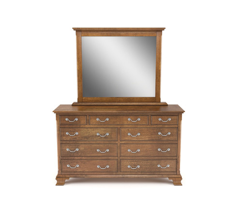 BALLANTYNE 9 DRAWER  OAK DRESSING TABLE WITH MIRROR  -   BROWN