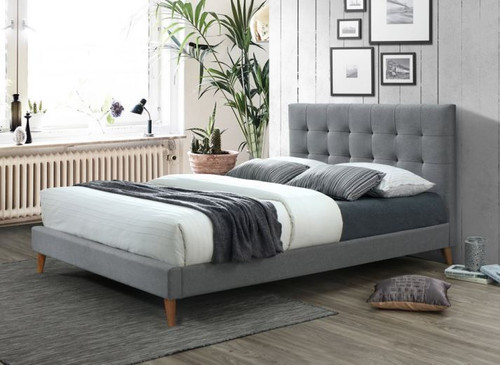 QUEEN RICKI FABRIC BED FRAME - CHARCOAL