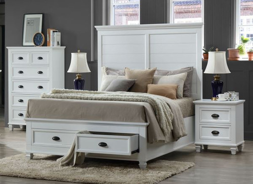 BACKLEYS  KING  4  PIECE (TALLBOY)  BEDROOM SUITE - WHITE