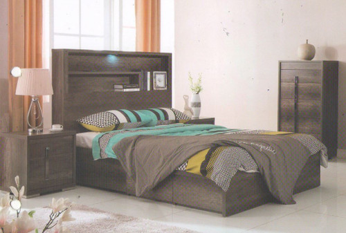 JESUIT  DOUBLE OR QUEEN  4  PIECE (TALLBOY ) BEDROOM SUITE  - (MODEL:12-9-2-18-1-18-25)  - CHARCOAL