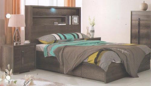 JESUIT  DOUBLE OR QUEEN  3  PIECE (BEDSIDE  ) BEDROOM SUITE  - (MODEL:12-9-2-18-1-18-25)  - CHARCOAL