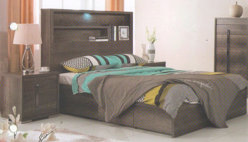 JESUIT  DOUBLE OR QUEEN  3  PIECE (BEDSIDE  ) BEDROOM SUITE  - (MODEL:12-9-2-18-1-18-25)  - CHARCOAL
