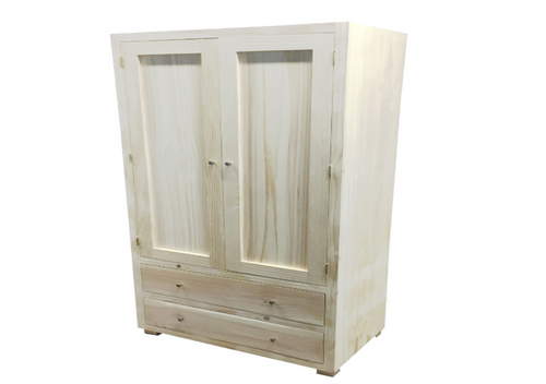 RETRO (AUSSIE MADE) WARDROBE WITH 2 DOORS & 2 DRAWERS - 1800(H) X  900(W) -ASSORTED COLOURS AVAILABLE