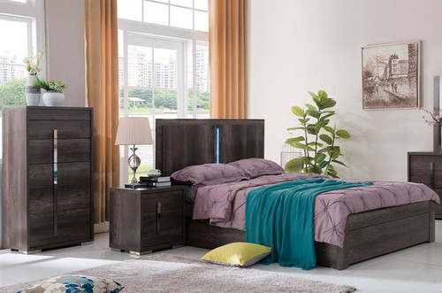 YONKERS DOUBLE OR QUEEN 4 PIECE (TALLBOY) BEDROOM SUITE   - CHARCOAL