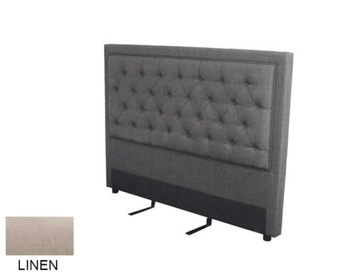 QUEEN ASHFORD UPHOLSTERED BEDHEAD - LINEN OR GUNMETAL (PICTURED)