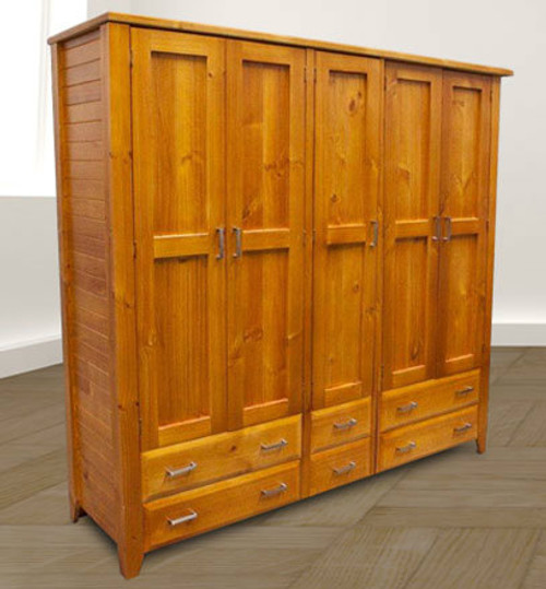 MANILLA (AUSSIE MADE) MULTIROBE 2 PIECE WITH 5 DOORS & 6 DRAWERS - 1920(H) X 2000(W) -  ASSORTED COLOURS AVAILABLE