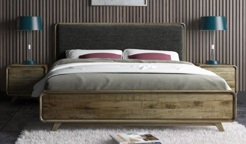 QUEEN ALBERDINE ASHWWOD BED WITH UPHOLSTERED HEADBOARD - (MODEL-1-12-5-24-1-14-4-18-1) - NATURAL