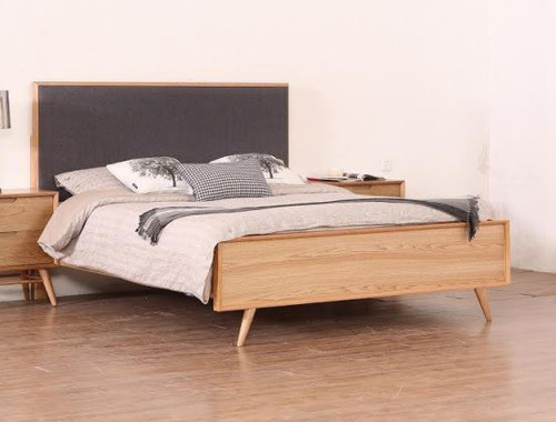 QUEEN  ALGIERS BED WITH UPHOLSTERED HEADBOARD - (MODEL-19-5-22-9-12-12-5) - NATURAL