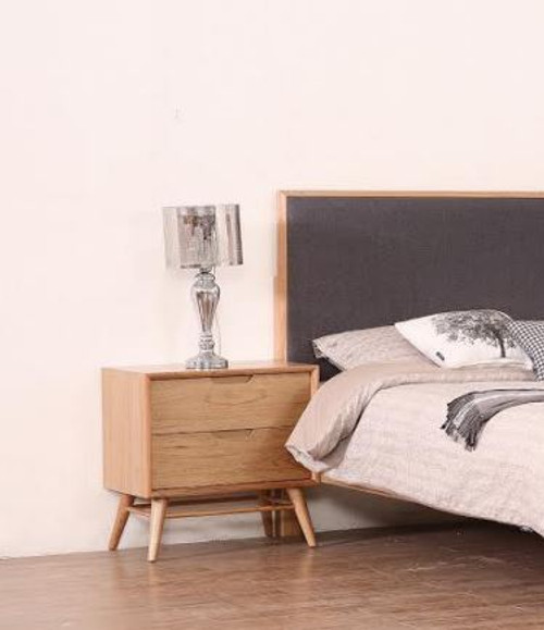 ALGIERS 2 DRAWER BEDSIDE TABLE - (MODEL-19-5-22-9-12-12-5) - NATURAL
