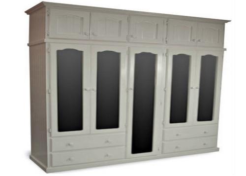 MUDGEE (AUSSIE MADE) 2 PIECE MULTIROBE WITH 5 MIRRORED DOORS & 5 TOP STORAGE BOXES - 2250(H) X 2000(W) - ASSORTED COLOURS