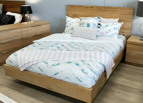 QUEEN BUENO   HARDWOOD FLOATING  BED - (MODEL-1-19-20-9-14-1)  - NATURAL