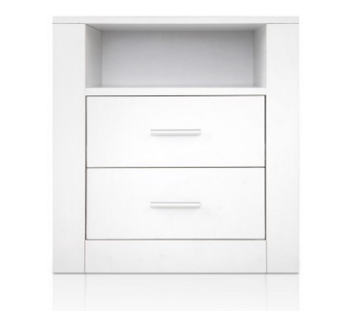 GLASSGOGH 2 DRAWERS ANTI-SCRATCH BEDSIDE-  WHITE