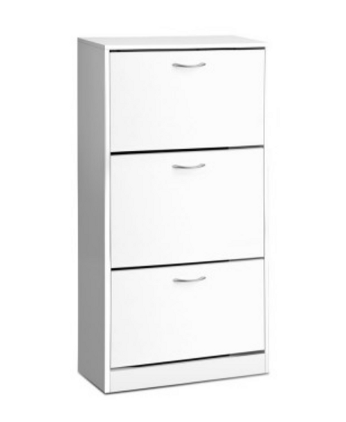 GLASSGOGH3 TIER SHOE CABINET -  WHITE