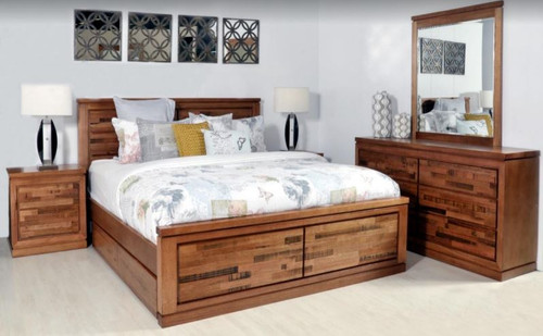 BERTROSE  KING  6  PIECE (DRESSER)  BEDROOM SUITE - (MODEL:3-1-18-12-9-19-12-5)  -  AS PICTURED