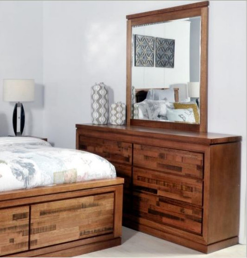 BERTROSE  TASMANIAN OAK DRESSING TABLE WITH MIRROR  - (MODEL:3-1-18-12-9-19-12-5) - AS PICTURED