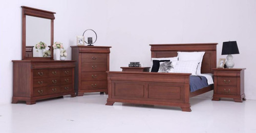 BRADLEY QUEEN 5 PIECE (DRESSER) BEDROOM SUITE - (MODEL:3-1-18-15-12-9-14-5) - AS PICTURED