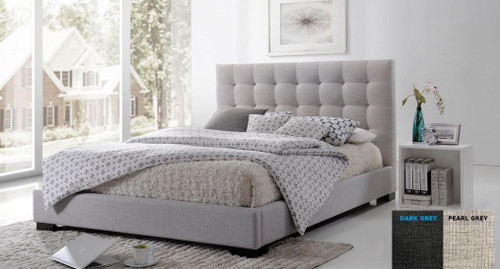 DOUBLE SEAWIND FABRIC BED   - (MODEL:13-5-13-16-8-9-19) - PEARL ( LIGHT GREY) OR DARK GREY