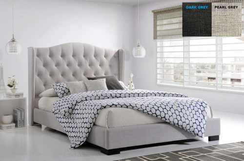 KING SEAWIND WINGED BUTTONED LINEN FABRIC BED - (MODEL:13-5-13-16-8-9-19) - PEARL ( LIGHT GREY) OR DARK GREY