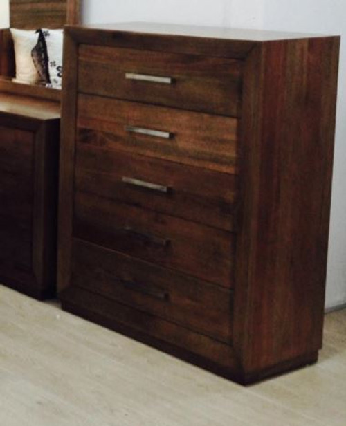 ZEALOT 5 DRAWER  HARDWOOD TALLBOY CHEST   - (MODEL:18-15-13-1)  - AS PICTURED