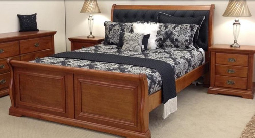 LAYFIELD  KING 4 PIECE TALLBOY   HARDWOOD BEDROOM SUITE - (MODEL:22-9-3--20-15-18-9-1)