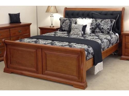 KING  LAYFIELD  HARDWOOD  BED FRAME - BEDROOM SUITE - (MODEL:22-9-3-20-15-18-9-1)