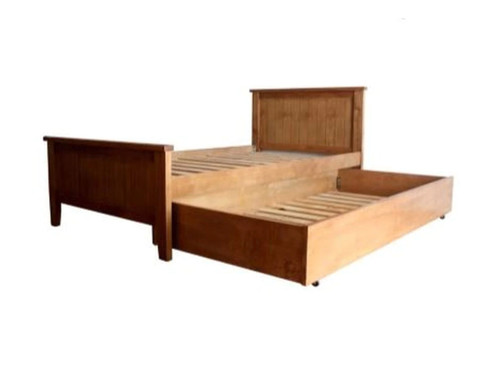 KING SINGLE LANCASTER SOLID TIMBER PANEL BED WITH SINGLE TRUNDLE BED - (MODEL:12-5-15) - AS PICTURED