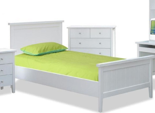 SINGLE PACIFIC   PANEL BED  - (MODEL:19-9-13-16-12-25) - WHITE