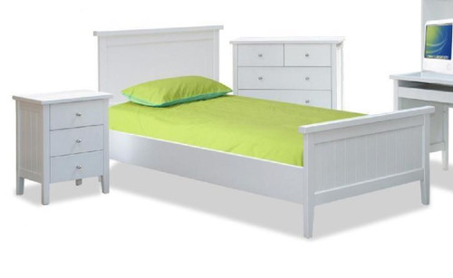 PACIFIC  DOUBLE OR  QUEEN   4 PIECE  TALLBOY BEROOM SUITE  - (MODEL:19-9-13-16-12-25) - WHITE