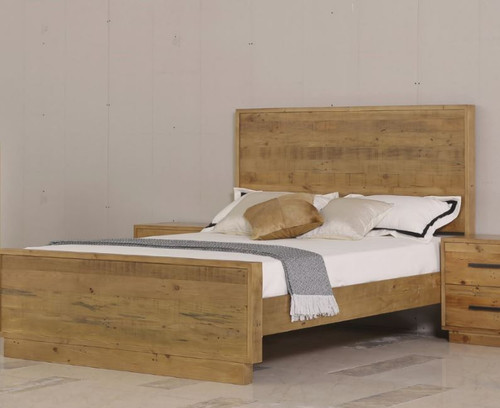 DOUBLE SYRACUSE SOLID TIMBER PANEL BED - (MODEL:1-21-7-21-19-20) - AS PICTURED