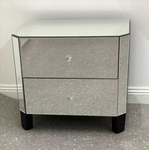 BEN  2 DRAWER  MIRROR  BEDSIDE TABLE  -  AS PICTURED