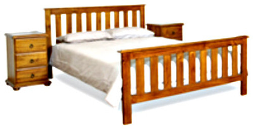 BUDGET FEDERATION DOUBLE OR QUEEN 3 PIECE BEDSIDE BEDROOM SUITE - ASSORTED COLOURS AVAILABLE