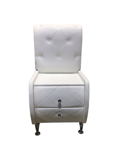 BETHANY WITH BACK 2 DRAWER BEDSIDE TABLE  WITH DIAMONTES (MODEL: B032#) - WHITE - 3 ONLY ONLINE SPECIAL - READY TO GO
