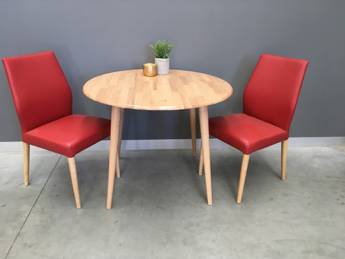 CHARLIE   5 PIECE DINING SET WITH MATCHING  LEATHERETTE CHAIRS - AS PICTURED