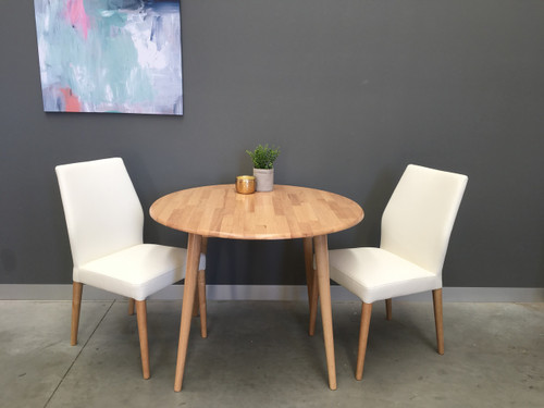 CHARLIE   5 PIECE DINING SET WITH MATCHING  LEATHERETTE CHAIRS - NATURAL / WHITE