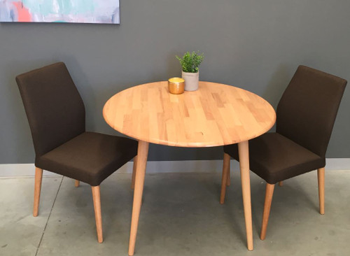 CHARLIE   5 PIECE DINING SET WITH MATCHING FABRIC CHAIRS - NATURAL / BROWN