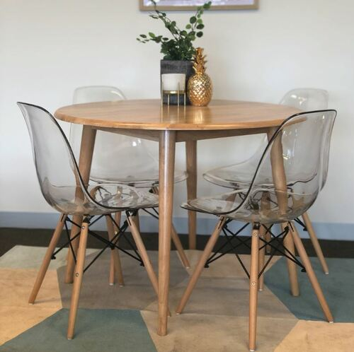 CHARLIE   5 PIECE DINING SET WITH MATCHING  CLEAR CHAIRS - NATURAL / CLEAR