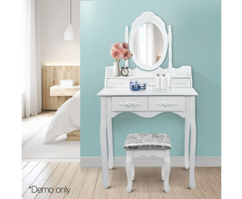 ERIN 4 DRAWER DRESSING TABLE WITH MIRROR & STOOL (TAB-4D) - WHITE