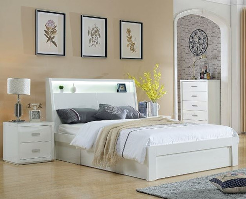 CHICAGO  KING 3  PIECE  BEDSIDE BEDROOM SUITE WITH 1X BED END STORAGE  DRAWER  - (LS-120 K) - HIGH GLOSS WHITE