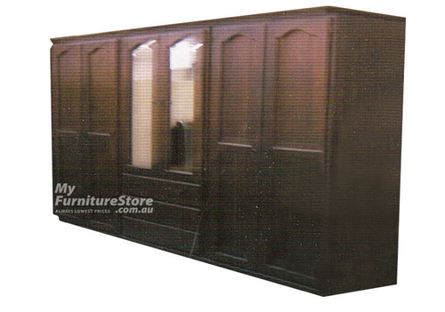 EMPIRE 3 PIECE TASMANIAN OAK MULTI-ROBE WITH 6 DOORS / 3 DRAWERS -  2000(H) X 2500(W) - ASSORTED COLOURS